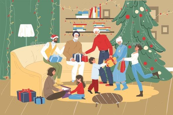 Family Christmas Present Gift Box Exchange Scene
