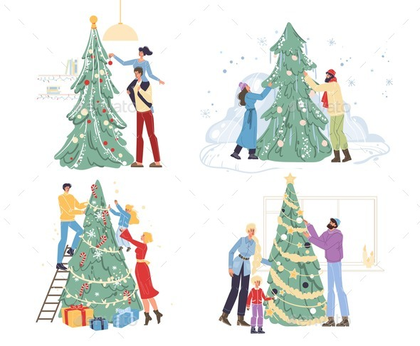 Happy Family Decorating Christmas Tree at Home Set