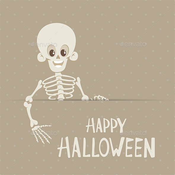 Lettering Happy Halloween and Skeleton