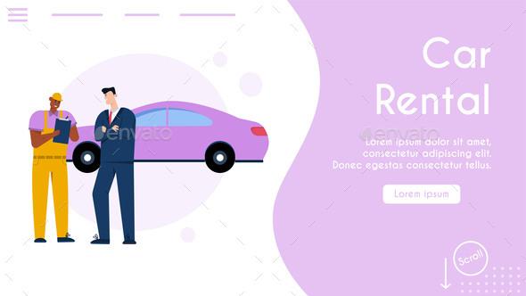 Vector Banner of Car Rental Service Concept