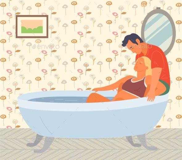 Pregnant Woman Preparing for Childbirth in Bathtub
