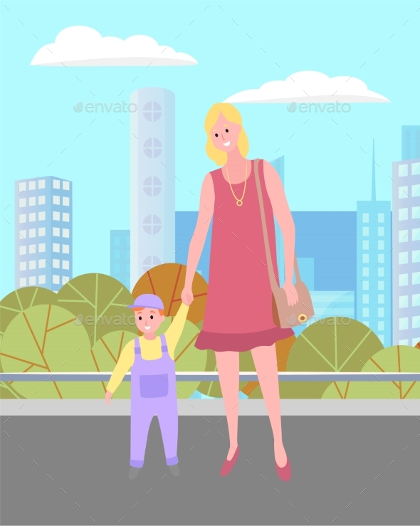 Young Mom and Her Son Walking in the City Square