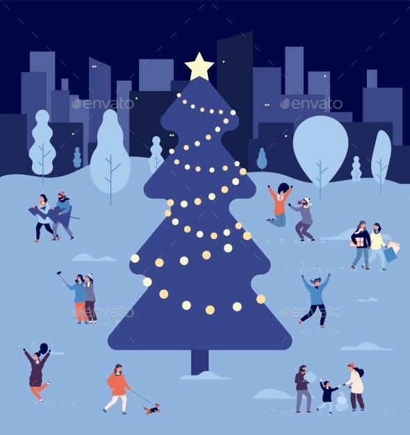 People at Christmas Tree. Crowd Celebrate