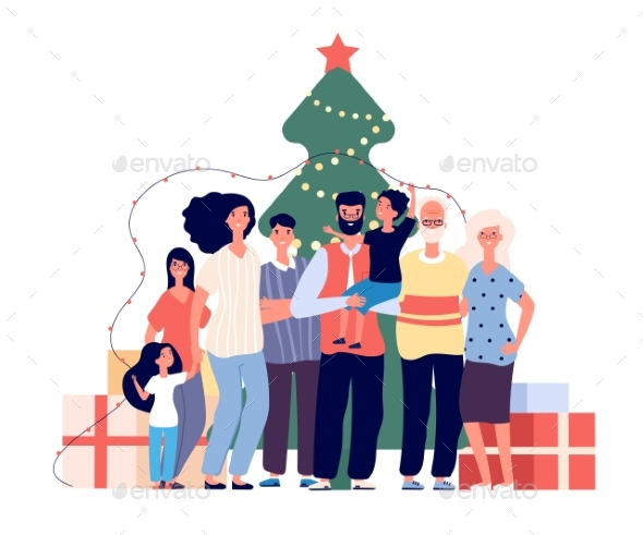 Family at Christmas Tree. Smiling Adults and Kids