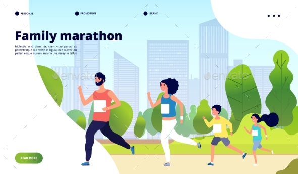 Family Marathon. Dad, Mom and Kids Running