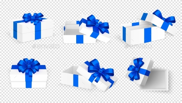 Gift Boxes. White Open Present Empty Box with Blue