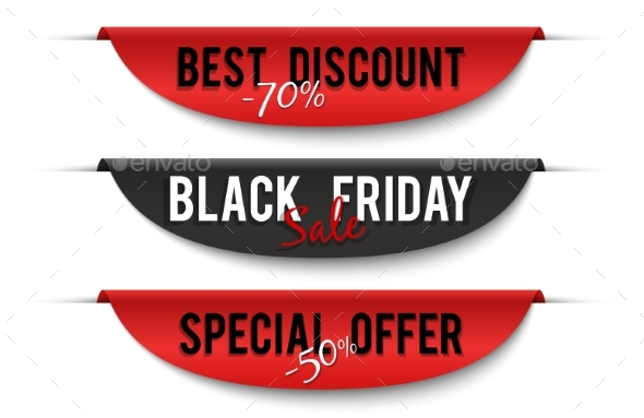 Black Friday Sale. Special Price Labels. Sale