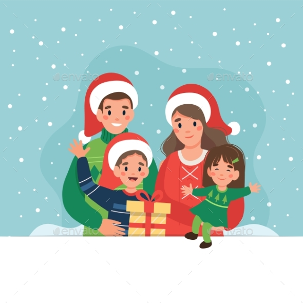 Happy Family at Christmas. Cute Vector