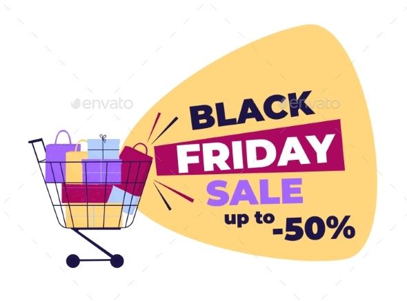 Black Friday Sale. Shopping Trolley Full of