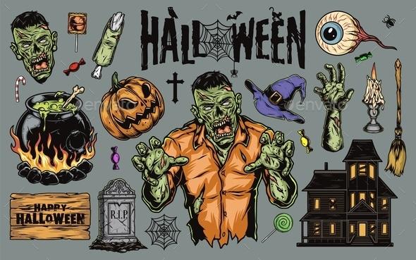Halloween vintage elements set