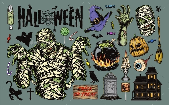 Vintage Halloween elements collection