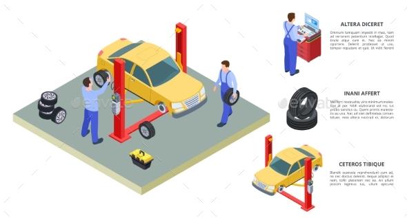 Car Service Concept. Vector Venicle and Tire