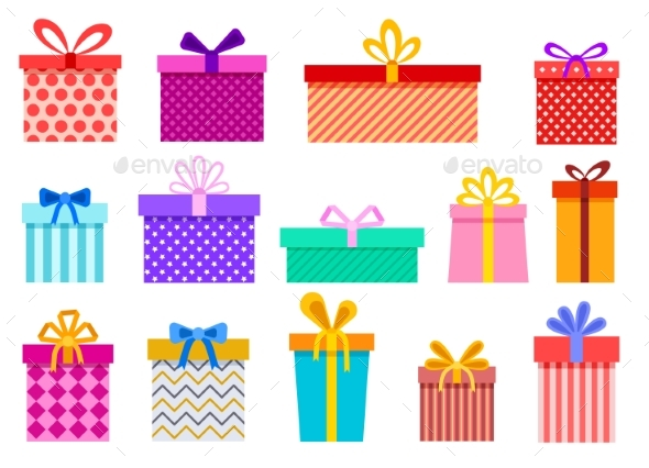 Gift Boxes. Christmas Present Wrapped Packages