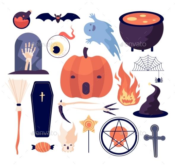 Halloween Set. Spiderweb and Pumpkin, Bat and
