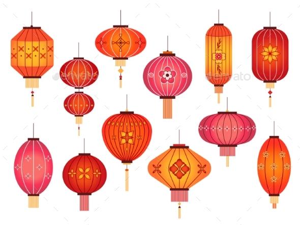 Chinese Lanterns. Chinatown and Japanese Street