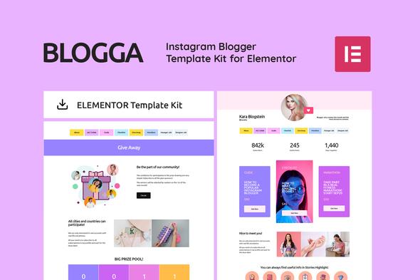 BLOGGA – Instagram Blogger Elementor Template Kit, Gobase64