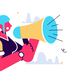 Cartoon Woman Shouts Out with Megaphone - GraphicRiver Item for Sale