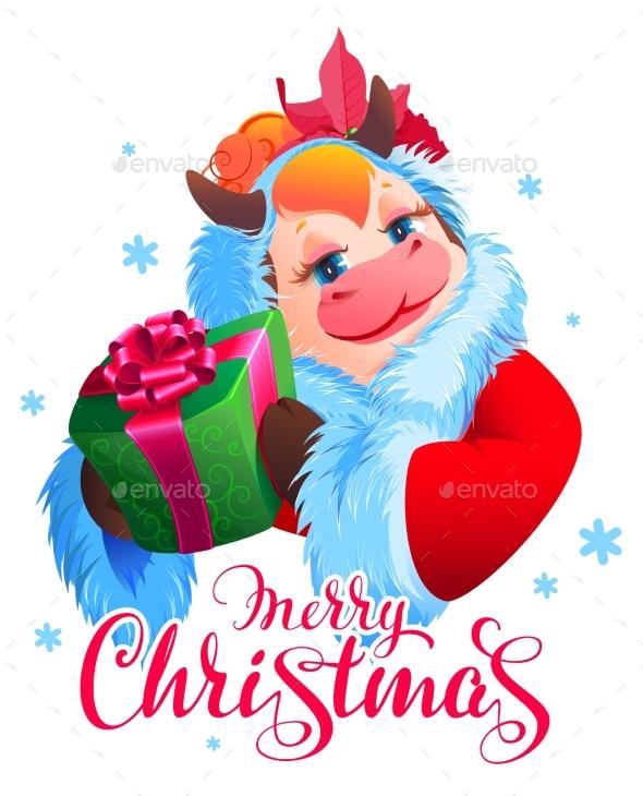 Merry Christmas Text Santa Cow Symbol 2021