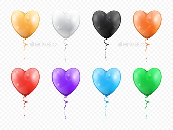 Heart Shape Balloons Isolated Party Decor Objects