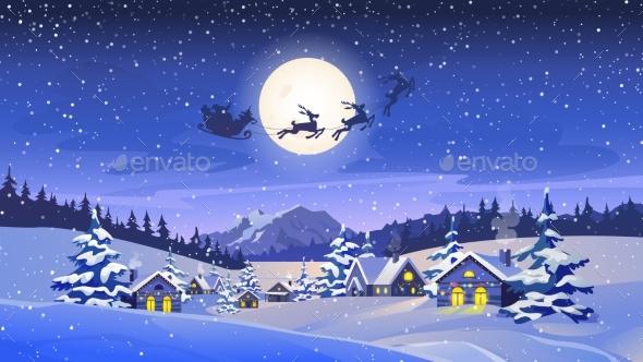 Christmas Eve Scenery Reindeers Flying in Sky