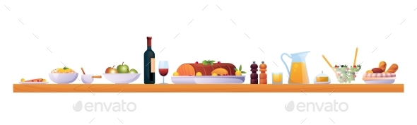 Served Holiday Table with Food and Drinks Isolated