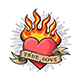 Burning Heart Old School Tattoo - GraphicRiver Item for Sale