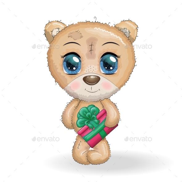 Cute Cartoon Bear with Big Eyes and a Christmas