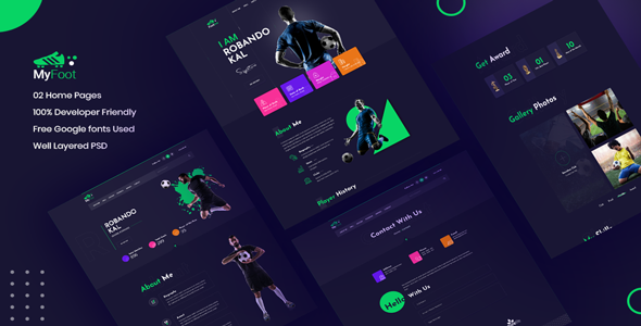 Myfoot -  Football Player Portfolio UI Templates