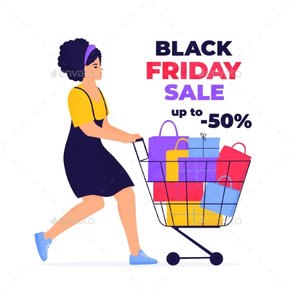 Black Friday Sale Banner. Girl Is Shopping with