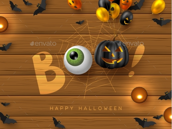 Happy Halloween Banner with Text Boo.