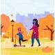 Mother and Daughter in Protective Masks Walk in - GraphicRiver Item for Sale