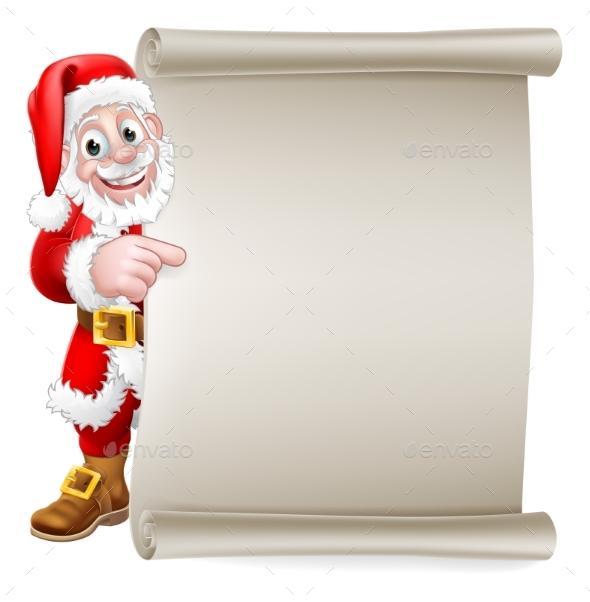 Santa Claus Christmas Cartoon Peeking Background
