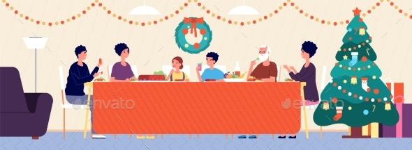 Christmas Family Dinner. Holiday Living Room