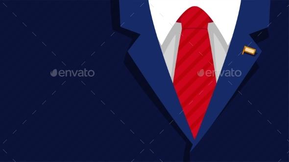Dark Blue President Formal Suit Red Tie