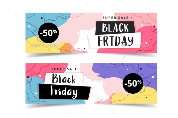 Black Friday Banner Set, Abstract Modern Template