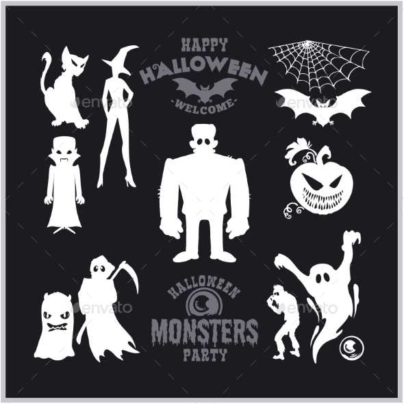 Set of Monsters for Halloween. A Collection of