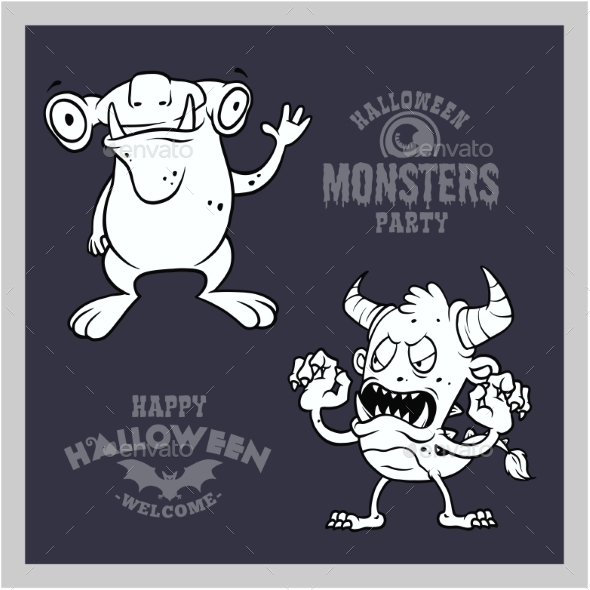 Set of Cartoon Monsters for Halloween. A