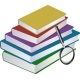 Illustration of Stack of Books with Magnifier - GraphicRiver Item for Sale