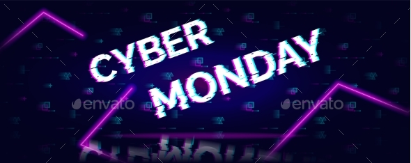 Cyber Monday Sale Glitch Neon Symbol on Abstract