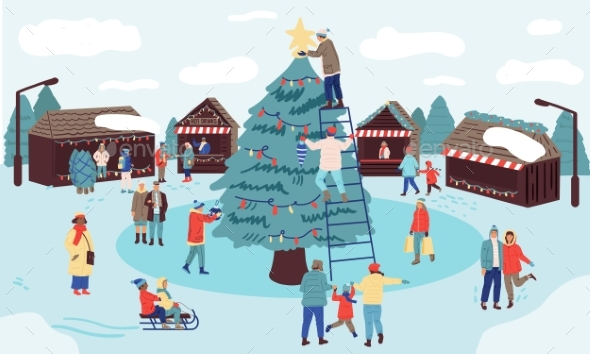 Christmas Market. Winter Holiday in Park, Families