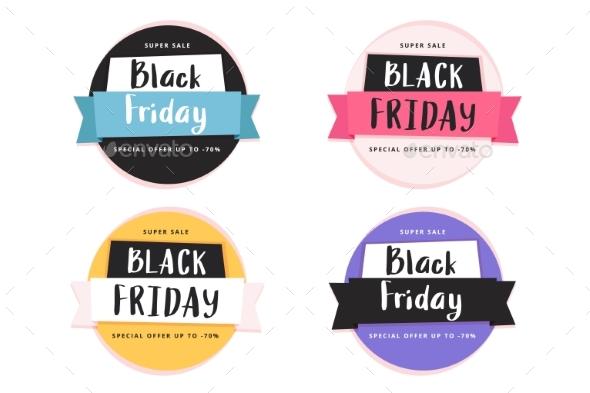 Black Friday Banner Template Set, Vector
