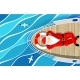 Santa Claus Is Swimming on Yacht Lying on the Deck - GraphicRiver Item for Sale