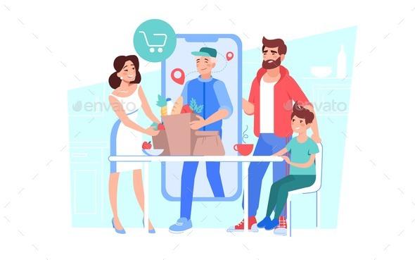 Man Courier Delivering Online Grocery Food Order