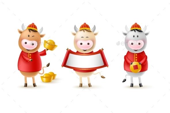 Chinese New Year Cute Bulls.