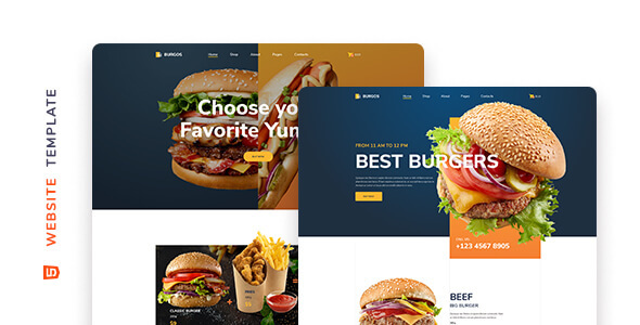 Burgos – Street Food HTML5 Template, Gobase64