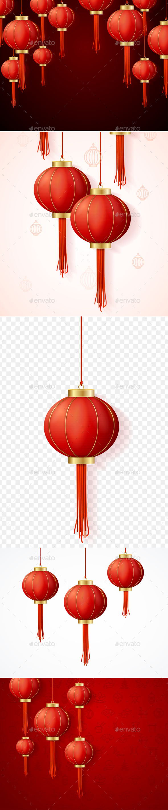 Realistic Detailed 3d Chinese Red Paper Lantern Background Card. Vector