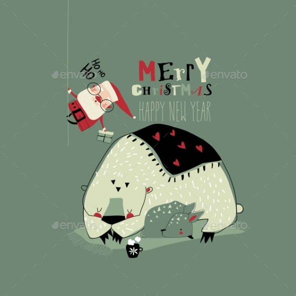 Funny Cartoon Santa Claus Giving Gifts To Animals