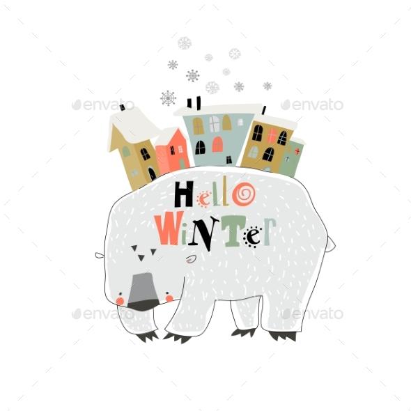 Funny Cartoon Polar Bear with Little Town