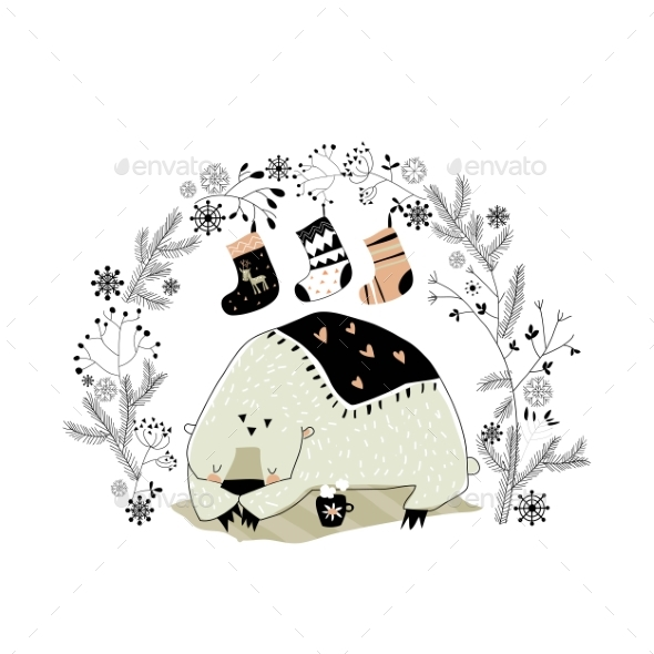 Cartoon Polar Bear with Christmas Wreath and Socks