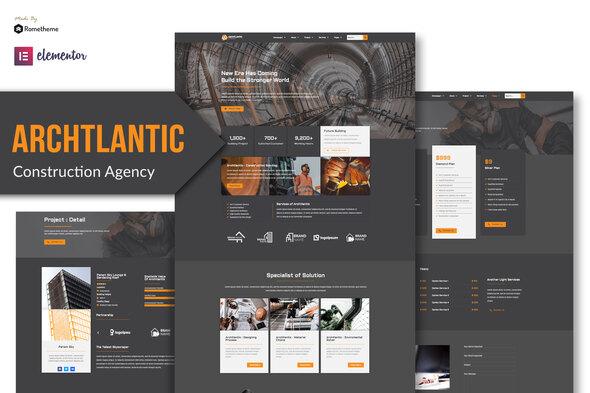 Archtlantic - Construction Agency Elementor Template Kit